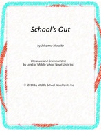 School's Out Novel Unit with Literary and Grammar Activities