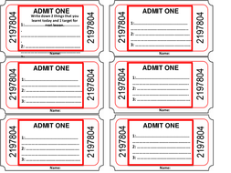 Exit Tickets - A template for students