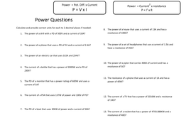 Power calculations worksheet plus answers - Physics AQA 2016 ...
