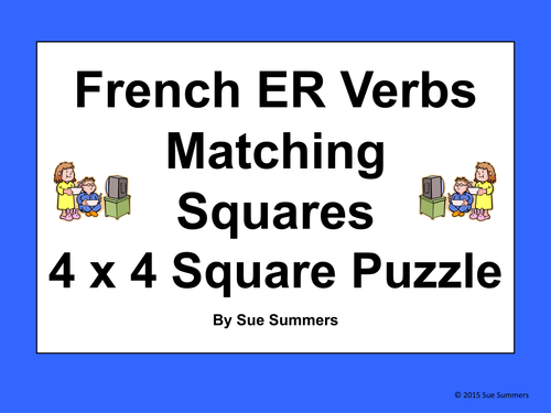 French ER Verb Infinitives 4 x 4 Matching Squares Puzzle