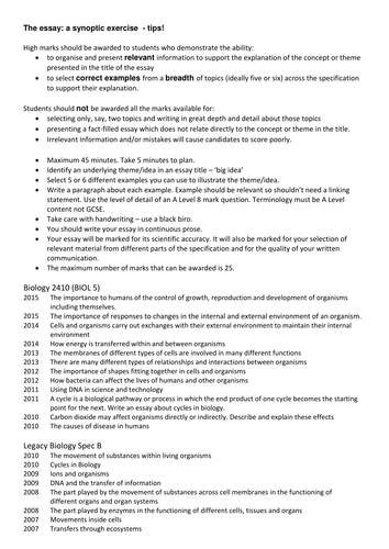 aqa a level biology paper essay tips and activity by jb  aqa a level biology paper 3 essay tips and activity by jb582 teaching resources tes