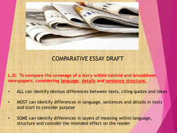 news comparison essays Free essay: a comparison of two newspaper articles in this coursework 'b' i would be comparing two news articles from two different sources this coursework.