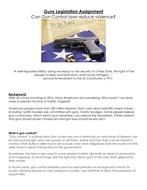 The Second Amendment: Guns Legislation Assignment Can Gun Control laws reduce violence? Project
