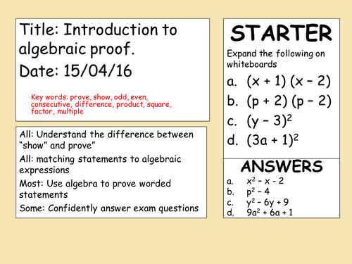Algebraic Proof by blessdiem Teaching Resources Tes – Algebraic Proofs Worksheet with Answers