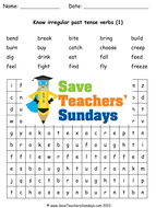 Irregular Verbs Worksheets / Word Searches and Extension