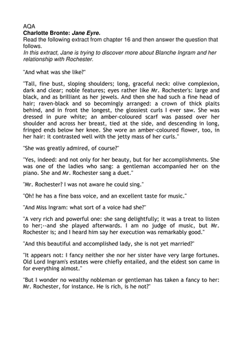 aqa jane eyre extracts and questions by walbere teaching aqa jane eyre 15 extracts and questions by walbere teaching resources tes