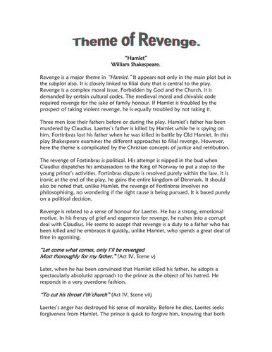 a 5 paragraph essay on revenge in shakespeares hamlet Does each body paragraph have a clear topic sentence that is related to the main idea of the essay does each body paragraph include revenge in hamlet words.