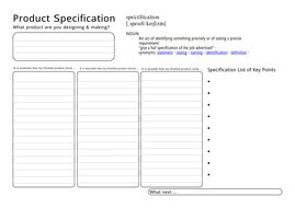 Product Specification Worksheet