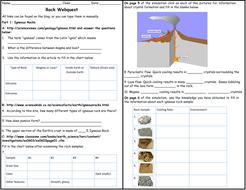 Igneous, Sedimentary and Metamorphic Rock Webquest