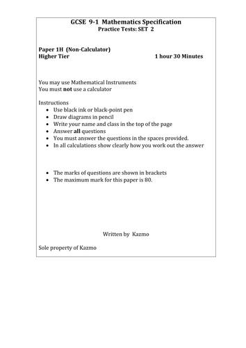 9-1 Maths Questions  1H    Set 2    (New)