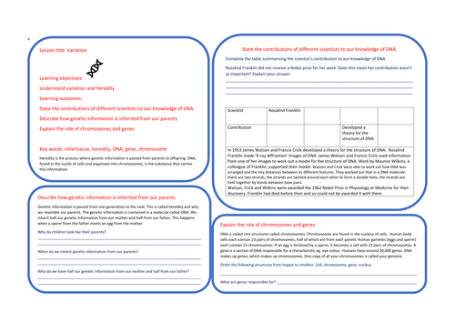 DNA / inheritance learning mat. Key stage 3 lesson or homeowrk or a starter task to recap for GCSE