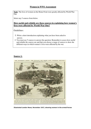 GCSE WW1 source assessment on the role of women