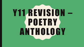 Poetry anthology exam revision