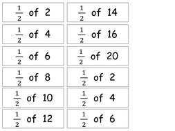 Differentiated fractions of a number worksheets for Year 1 and 2.