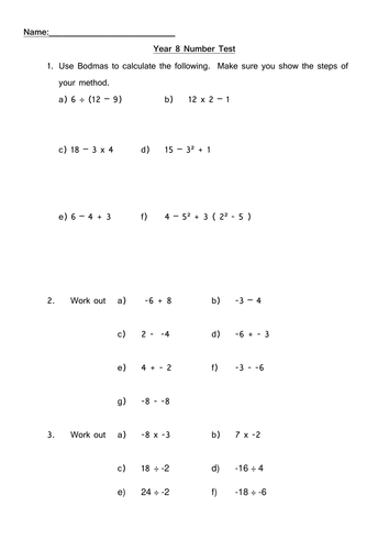 bodmas and negative numbers test/homework/starter questions