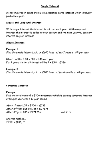 simple and compound interest notes and examples