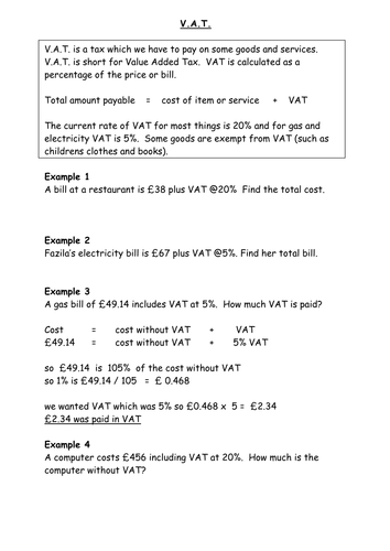 VAT worksheet Percentages - explanations, notes, worked examples and a few questions