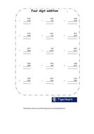 Addition of 4 digit numbers in columns freebie worksheet