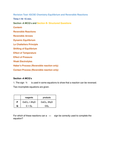 Revision Test- IGCSE Chemistry Equilibrium and Reversible Reactions              Time-1H 15 min