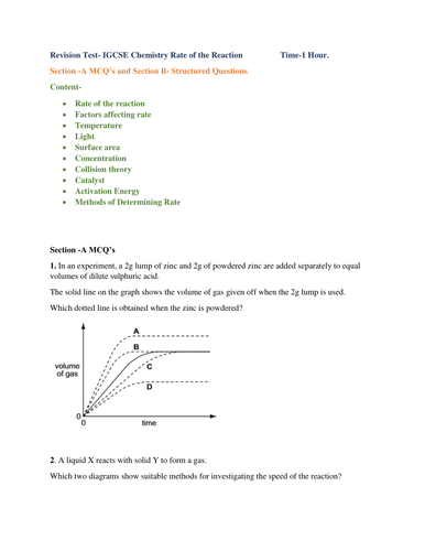 Revision Test- IGCSE Chemistry Rate of the Reaction                  Time-1 Hour.