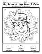 St. Patrick's Day Color & Solve (4 worksheets in 1)