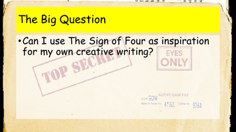 Sign of Four - Creative writing lesson