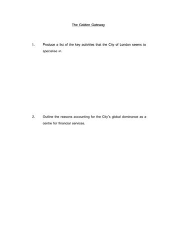 Questions on the City of london