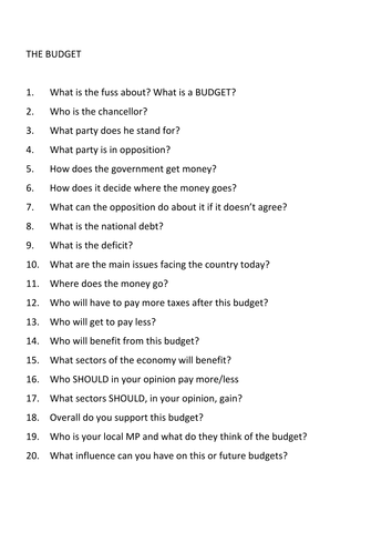the budget 20 questions form time