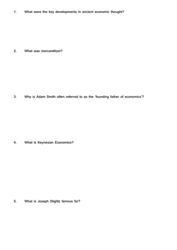 History of economic thought questions - research task