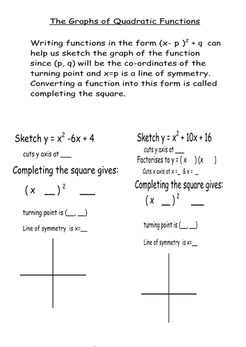 completing the square and graph of quadratic