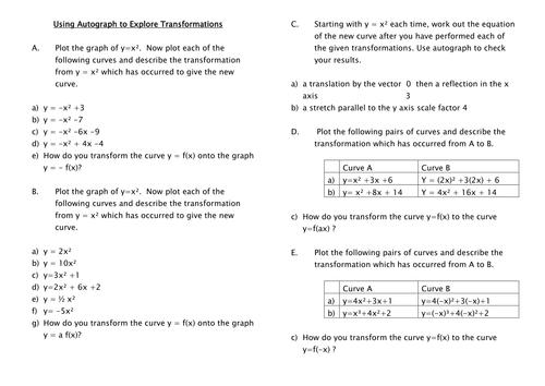 using autograph to explore transformations of quadratic graphs