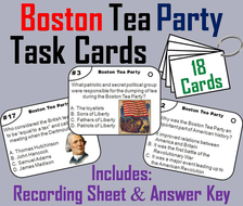 Boston Tea Party Task Cards