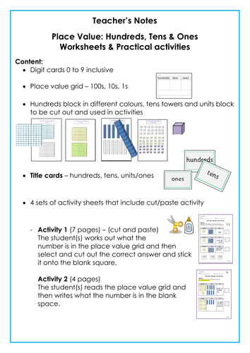 Place Value: Hundreds Tens Ones/Units, Teacher Notes, digit cards ...