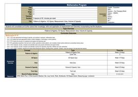 Year 4 Math Program: Patterns & Algebra, Volume & Capacity, 3D Shape, Area