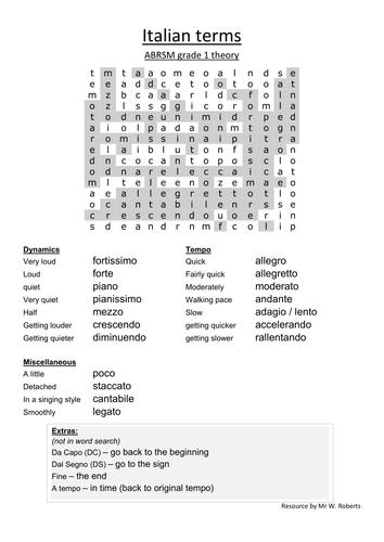 Italian musical terms worksheet (grade 1 theory)