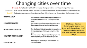 Changing cities over time