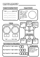 Math about me poster back to school activity