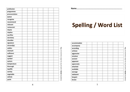 Year 5 and 6 Spelling / Word List Booklet by davlae
