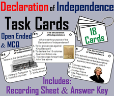 The Declaration of Independence Task Cards