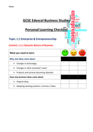 GCSE Edexcel  Business 9-1 - Theme 1 Personal Learning Checklists