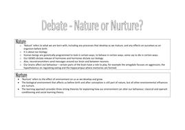 nature vs nurture worksheet psychology