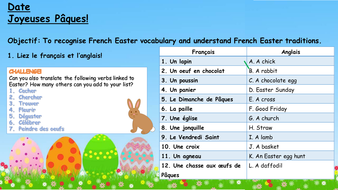 french easter lesson vocabulary games and traditions ks3 ks4 by prof de francais. Black Bedroom Furniture Sets. Home Design Ideas