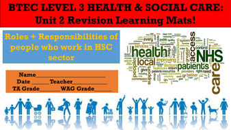 Health 2 Work.Btec Level 3 Health And Social Care Unit 2 Revision Learning Mats