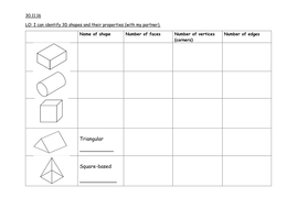 3D Shape Properties worksheet Year 2