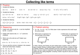 Collecting like terms - mastery worksheet by joybooth | Teaching ...