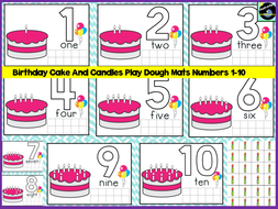 Birthday Cake And Candles Play Dough Mats Numbers