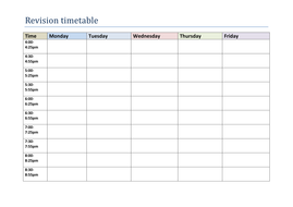 Revision Timetable And Prep Sheet By Jendi87 Teaching Resources Tes