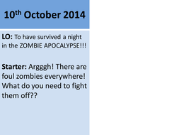 Zombie survival slow-writing activity - verbs, adjectives and nouns; action and exposition