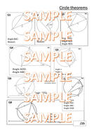 Half lesson, one sheet test on Circle Theorems
