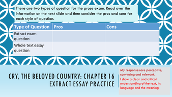 cry the beloved country sow igcse prose literature by    ctbc  exam extract practicepptx
